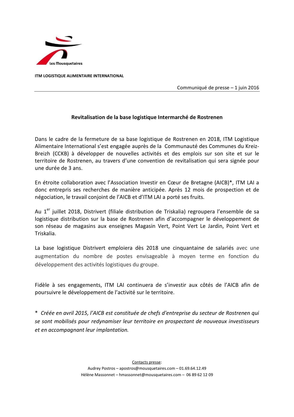 Communiqué de presse - ITM - Revitalisation de la base logistique intermarché de Rostrenen