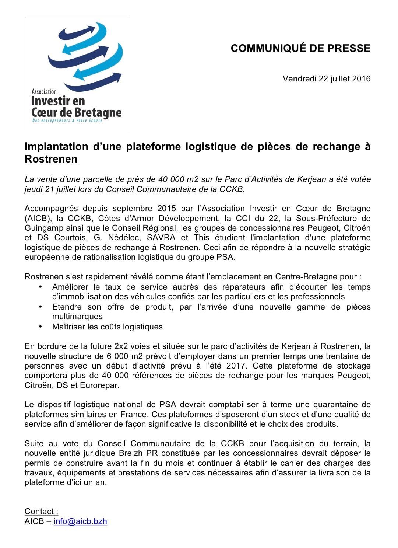 Communiqué de presse - Breizh PR - projet installation