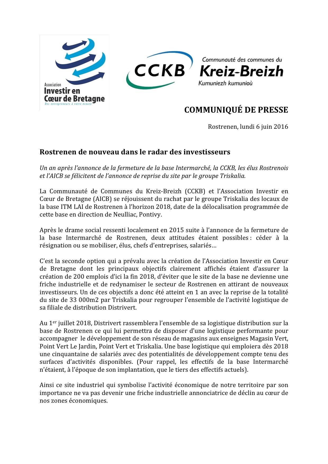 CP - AICB - Rostrenen de nouveau dans le radar des investisseurs