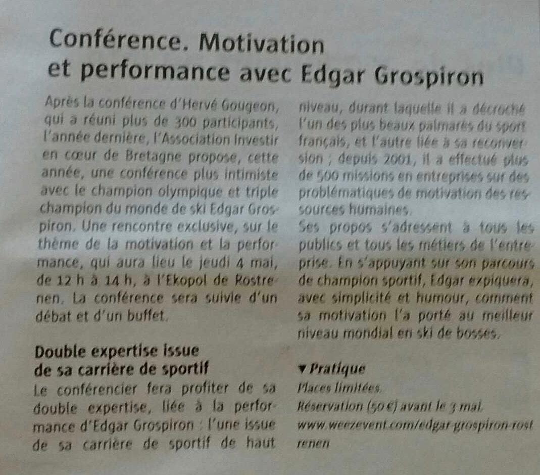 Communiqué de presse - Conférence avec Edgar Grospiron - Le télégramme