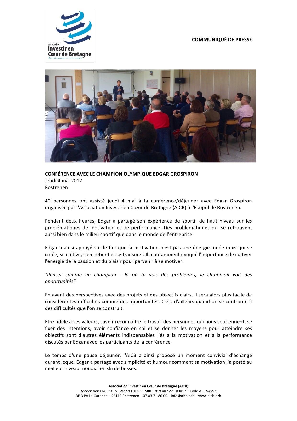 Communiqué de presse AICB - conférence Edgar Grospiron