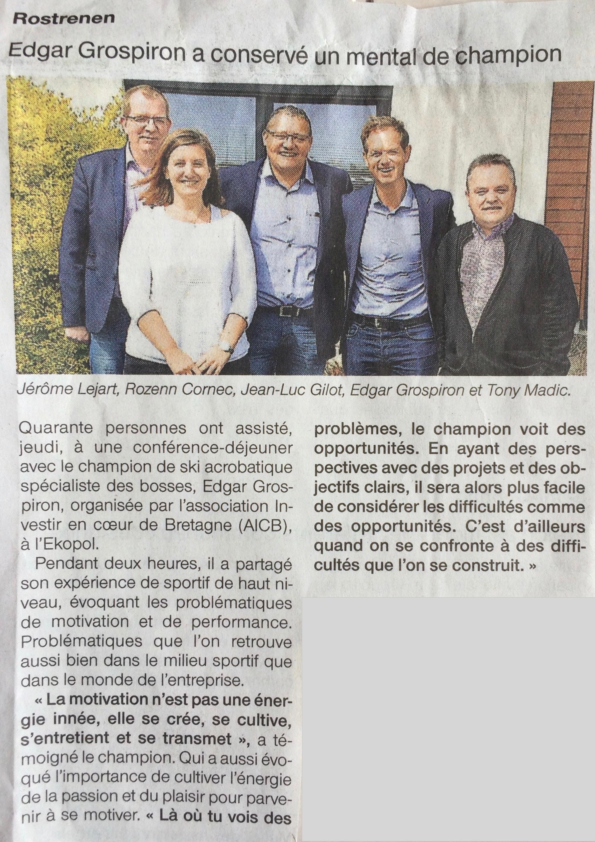 Communiqué de presse - Edgar Grospiron a conservé un mental de champion - Ouest France