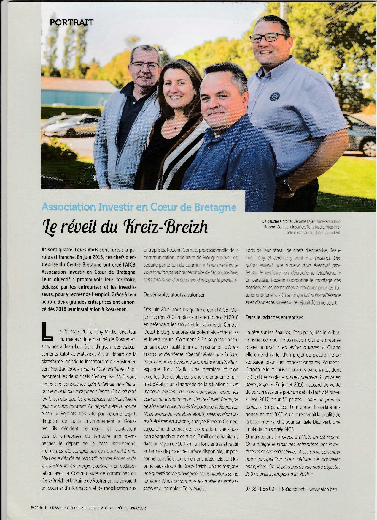 Communiqué de presse - Le reveil du Kreiz Breizh - Crédit Agricole magazine