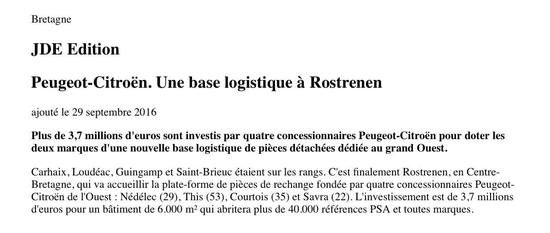 Communiqué de presse - Peugeot-citroën à Rostronen - Journal des entreprises