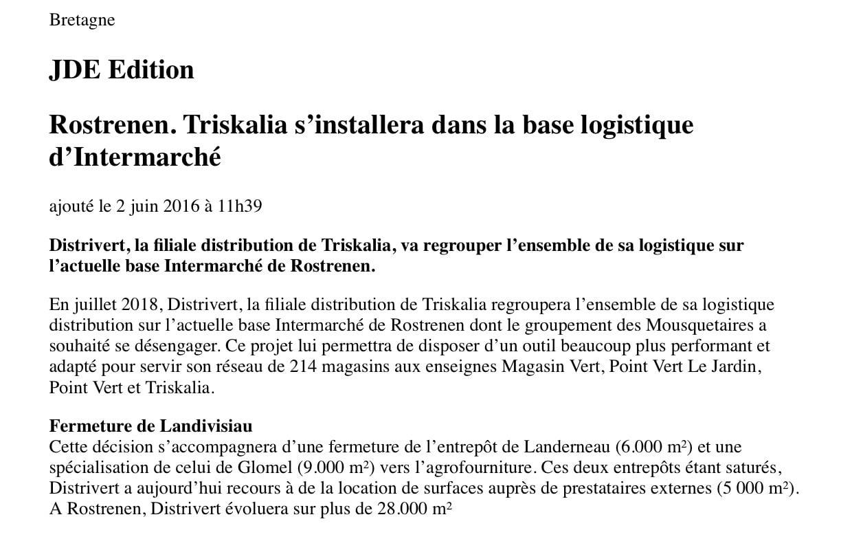 Communiqué de Presse - Triskalia - Journal des Entreprises