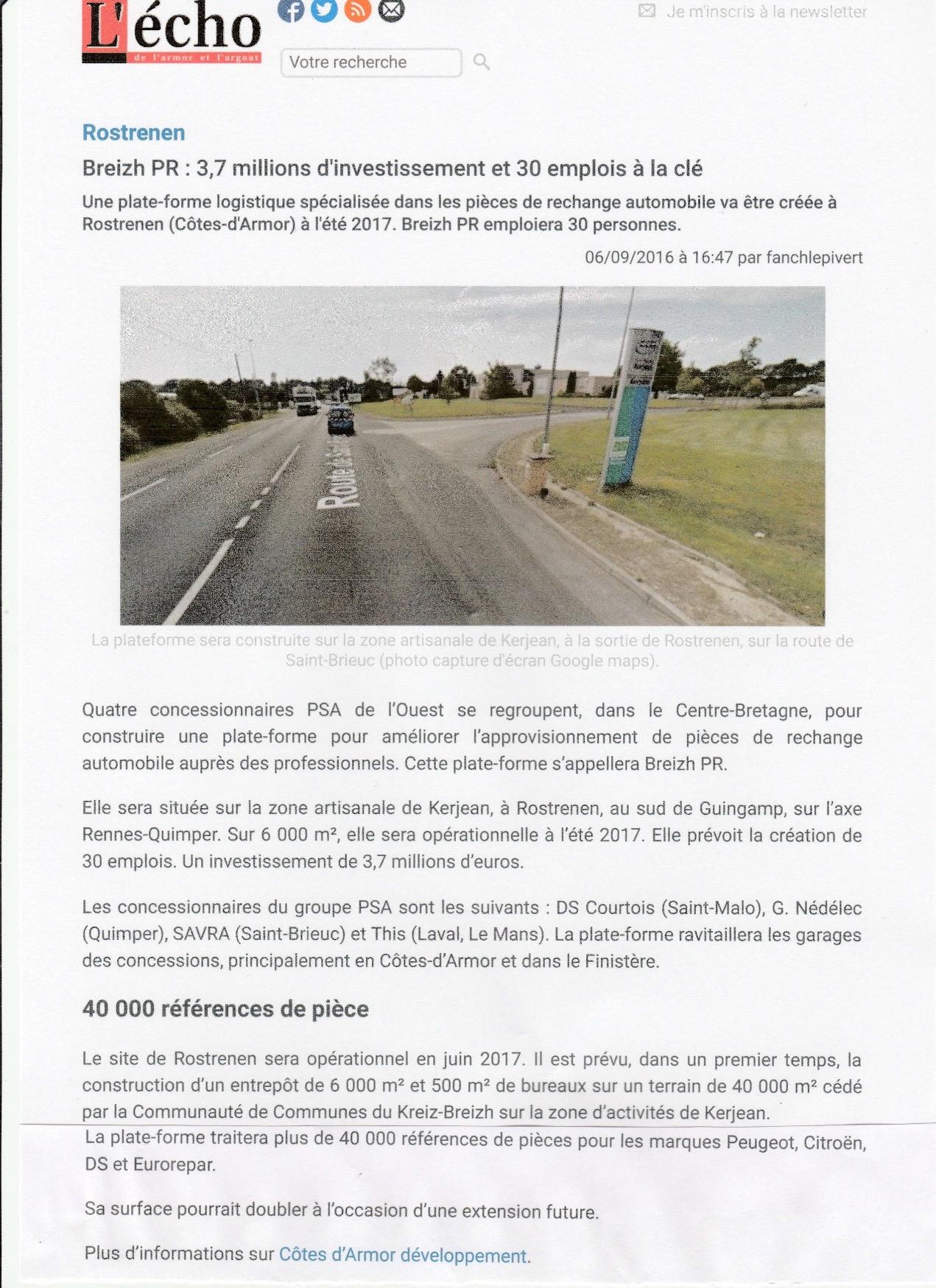Communiqué de Presse - Breizh PR investissement - L'écho