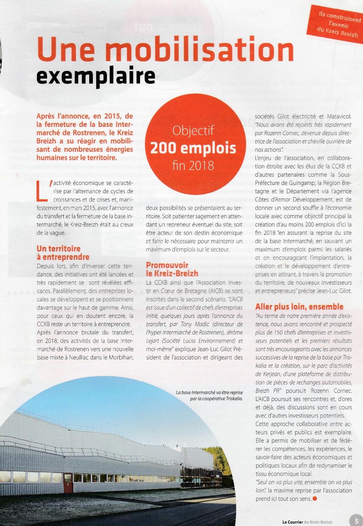 Communiqué de presse - Une mobilisation exemplaire - Courrier du Kreiz Breizh