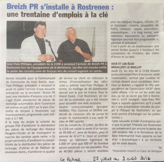 Communiqué de presse - Breizh PR s'installe à Rostrenen - Le Poher