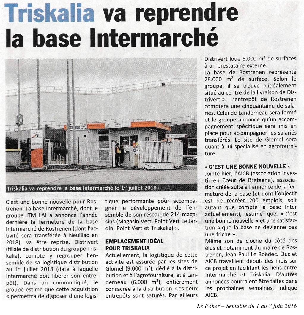Communiqué de presse - Triskalia va reprendre la base intermarché - Le Poher
