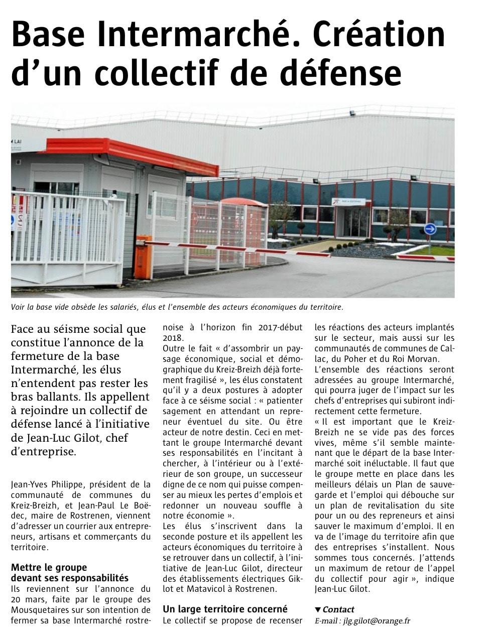 Communiqué de presse - Base intermarché, création d'un collectif de défense - Le télégramme