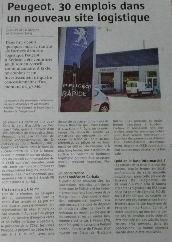 Communiqué de Presse - Peugeot, 30 emplois dans un nouveau site logistique - Le télégramme
