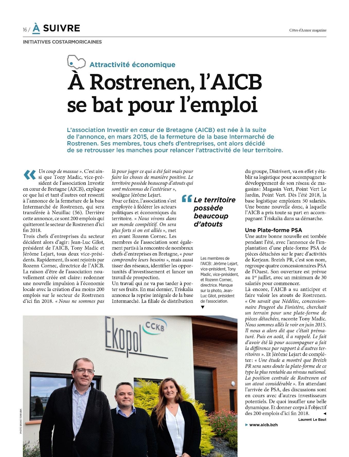 Communiqué de presse - A Rostrenen, l'AICB se bat pour l'emploi - Côtes d'armor Magazine