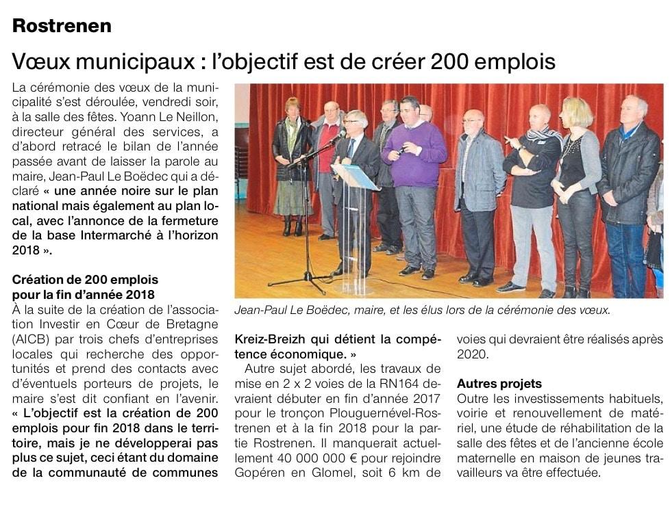 Communiqué de presse - Voeux municipaux, l'objectif est de créer 200 emplois - Ouest France