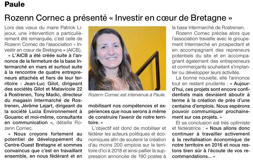 Communiqué de presse - Rozenn Cornec a présenter AICB - Ouest France