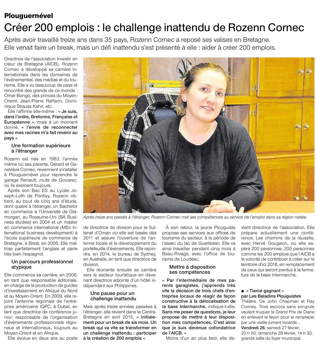 Communiqué de Presse - Créer 200 emplois : le challenge inattendu de Rozenn Cornec - Ouest France