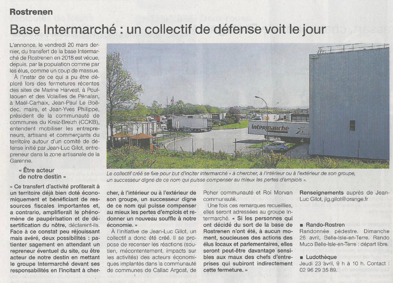 Communiqué de presse - Base intermarché, un collectif de defense voit le jour - Ouest France