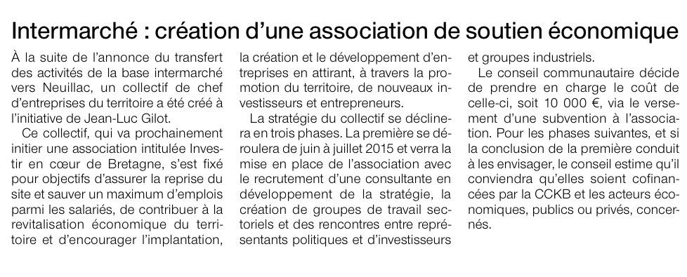 Communiqué de presse - Intermarché, création d'une association de soutien économique - Ouest France