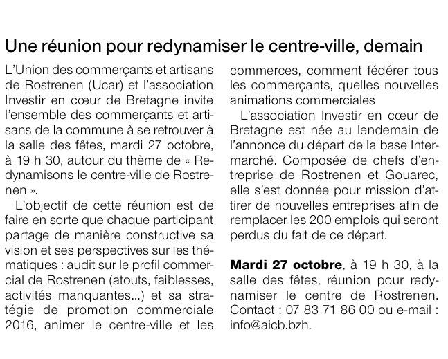 Communiqué de Presse - Une réunion pour redynamiser le centre-ville - Ouest France