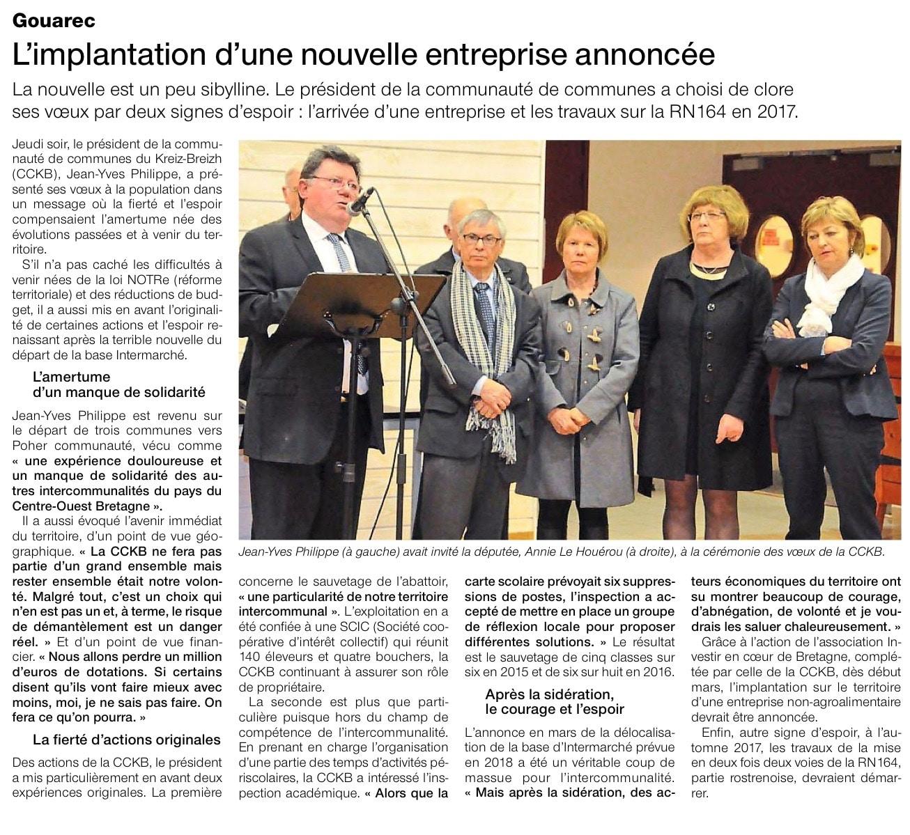 Communiqué de presse - L'implication d'une nouvelle entreprise annoncée - Ouest France