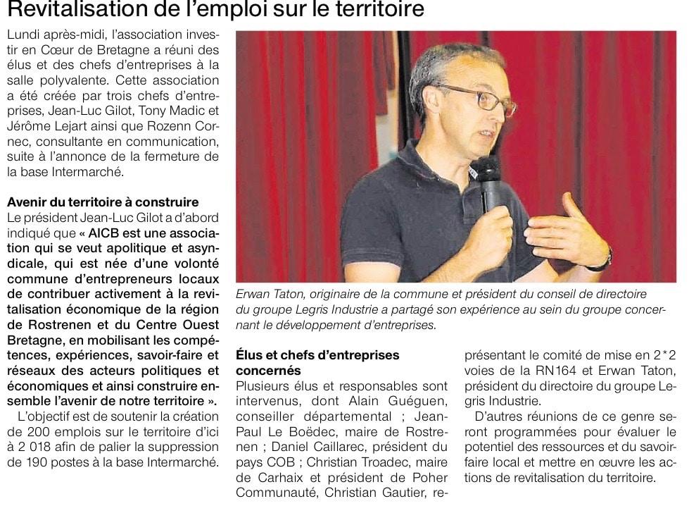 Communiqué de Presse - Revitalisation de l'emploi sur le territoire - Ouest France
