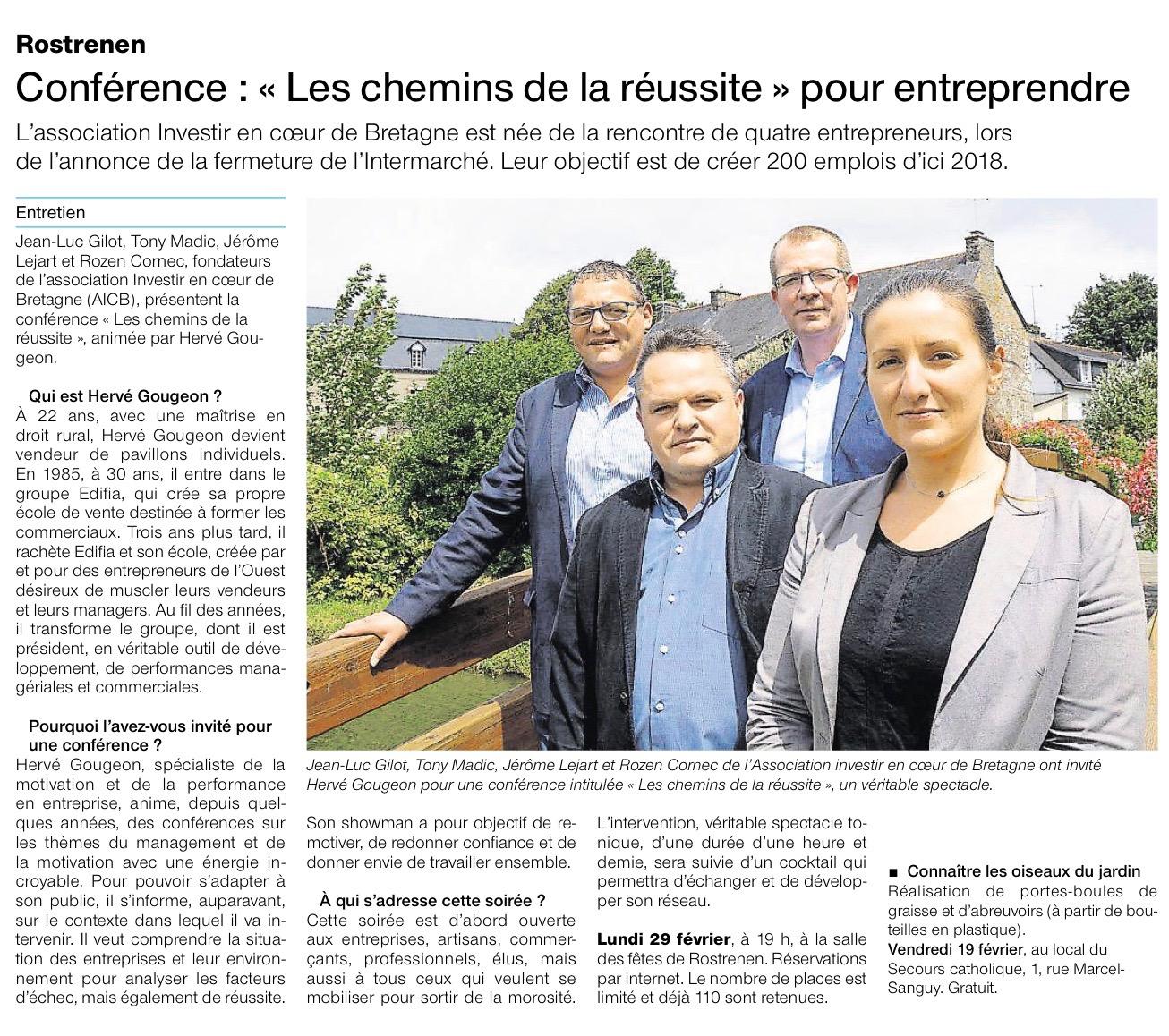 Communiqué de Presse - conférence, les chemins de la reussite pour entreprendre - Ouest France