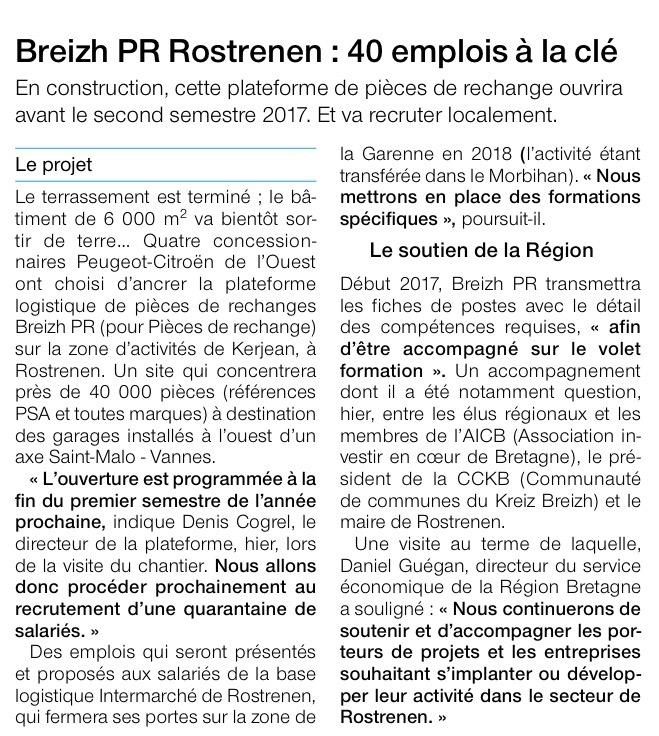 Breizh PR Rostrenen - Ouest France - 25 Novembre 2016