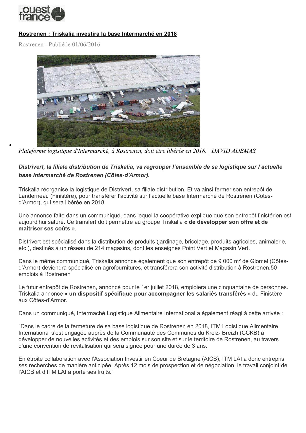 Communiqué de Presse - Rostrenen, triskalia investira la base intermarché en 2018  - Ouest France