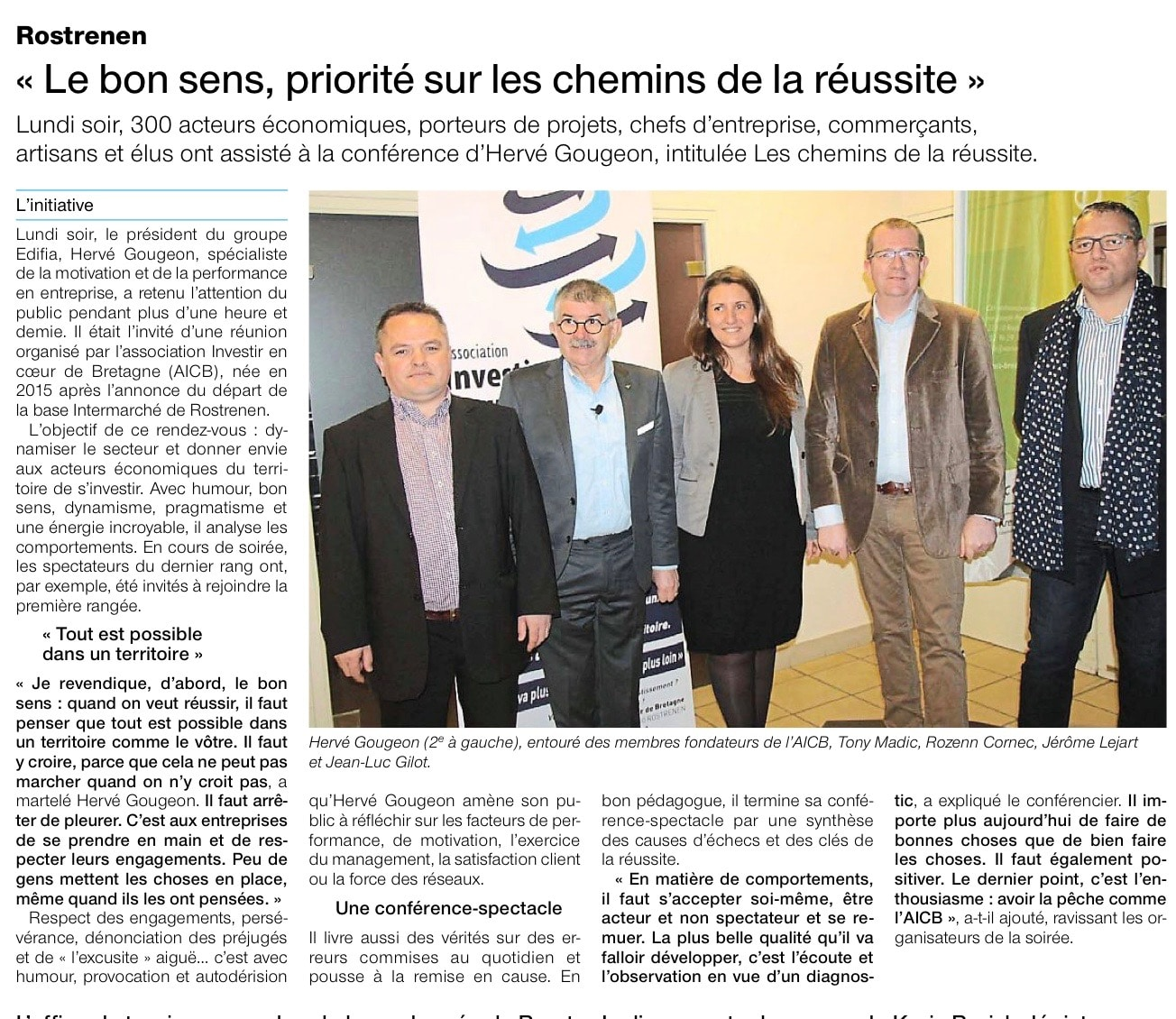 Communiqué de presse - Le bon sens, priorité sur les chemins de la réussite - Ouest France