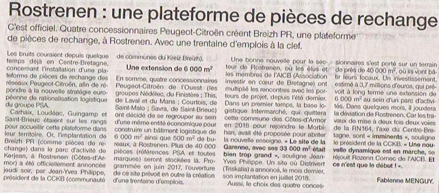 Communiqué de presse - Rostrenen, une plateforme de pieces de rechange - Ouest France
