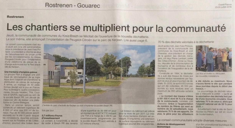 Communiqué de presse - les chantiers se multiplient pour la communauté - Ouest France