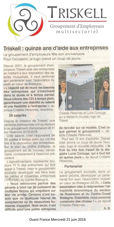 Communiqué de Presse - Triskell, 15 ans d'aide aux entreprises - Ouest France