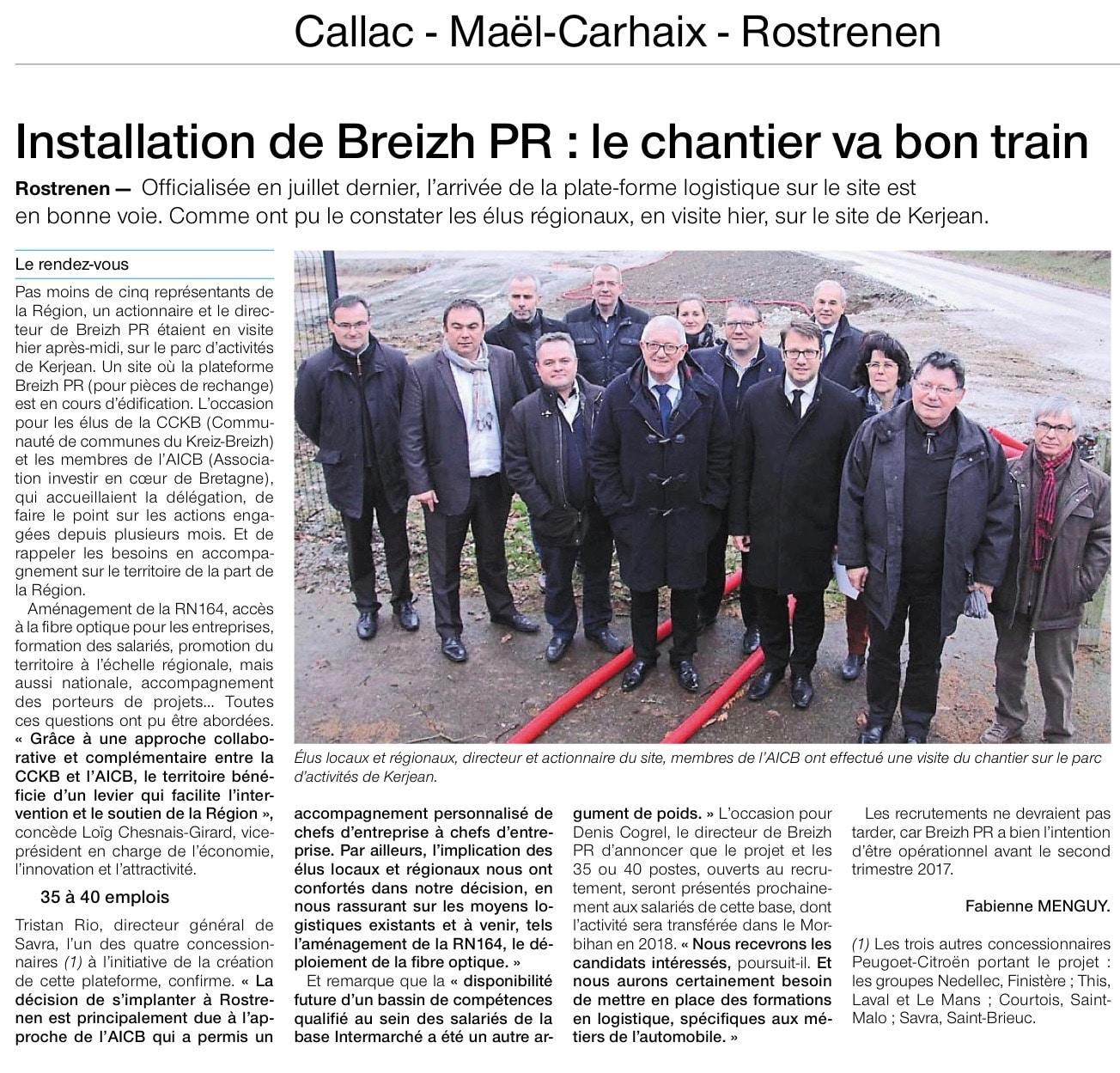 Communiqué de presse - installation de breizh PR - Ouest France